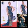 2014 One-Shoulder Golden Print Off The Shoulder Celebrity Dresses Ce1100