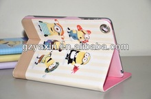 Custom lovely little Minion case/Despicable Me case for ipad mini leather with kickstand funtion