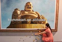Hot sale Golden Buddha 100% handmade wall art three-dimensional oil painting on canvas