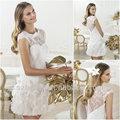 cy1291 lindo uma linha lace cap mangas curtas mini vestidos de noiva barato 2014