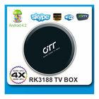 Hottest stock 2gb ram 8gb rom rk3188 quad core 1.6ghz android 4.2 quad core mini pc smart tv box with BT rj45 slot