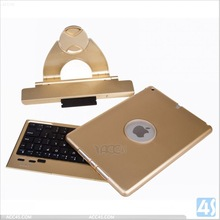 Noble Rotating gold color cover Case Bluetooth Keyboard For Ipad Air