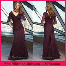 Fashional V-line Neckline with Charming Sleeves Flowy Chiffon Evening Dress