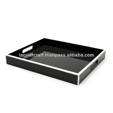 High quality best selling lacquered black with white trim designed serving Rectangle Tray