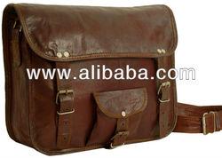 Real goat leather cross body messenger bag