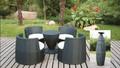 Hot! Outdoor rattan móveis jardim 5pc ferro fundido mesa e cadeira