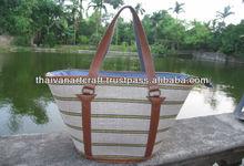 Combine jute and leather handmade bamboo bag