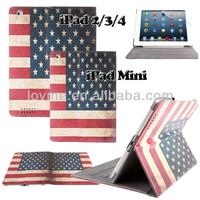 Retro Vintage UK/ USA Flip Stand Leather Case Cover for iPad 2 3 4 iPad Mini