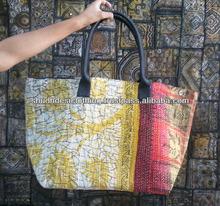 Handmade Kantha Stiched Cotton Jhola shoulder Bag