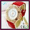 Luxury royal crystal alloy case lady watch leather with diamond bezel