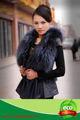 Female's sexy reale silver fox gilet in pelle collo di pelliccia di volpe