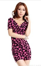 F70267A 2012 summer wear fashionable collocation basic super big v-neck sexy dress fits perfectly