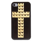 Golden Square Rivets Covered Cross Pattern Hard Case with Glue for iphone 4 case