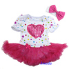 Baby Colorful Hot Pink Polka Dots Shimmer Hot Pink Heart Short Sleeves Bodysuit Pettiskirt and Headband NB-18M