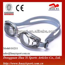 Silver gray silicone swimming pool goggle