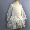 Recommend! Newest 2014 Boutique latest long sleeve Colorful White soft party wear cheap girl pageant baby girls lace dresses