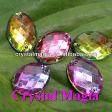oval shape rainbow colour fancy sew on crystals