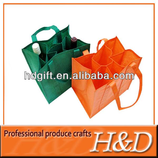 Color 6 bottle non woven bulk reusable wine tote bags