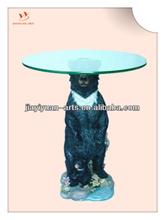 China wholesale 2014 resin mini animal shape coffee table with glass/Home Furnishings