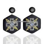 14k yellow gold pave set diamond designer hexagon shaped drop earrings, natural moonstone gemco designs wholesale jewelry