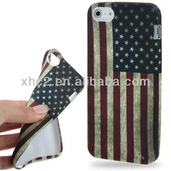 Hot Selling Retro Style USA Flag Rubber Case for iPhone 5 5S