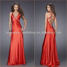 EV0002 Sexy Round Neck Heavy Beading Shinny Silk Satin Open Back Red Evening Dress