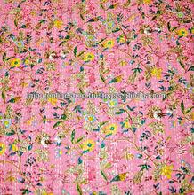 Bed Spread hand stitch kantha work Bird Print Quilts Throws