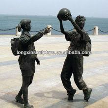 Bronze Children Playing Basketball Sculptures Garden Decoration--Bronze Children Sculpture