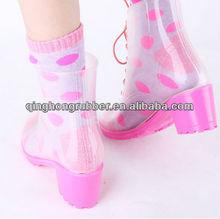 women waterproof short rain boots, high heel ladies half boots