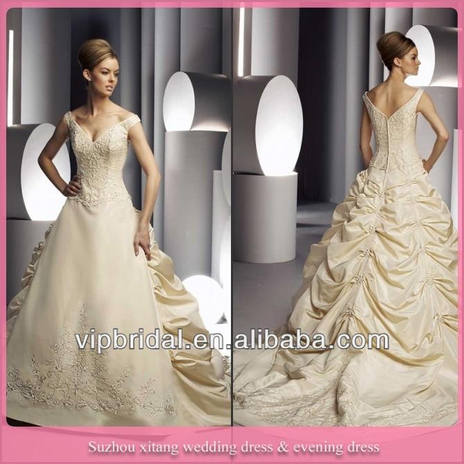 مثير الخامس-- الرقبة الدانتيل زين حبة الملونة الشمبانيا فساتين الزفاف مع قطار طويل