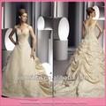 Sexy v- pescoço applique rendas talão de cor champanhe vestidos de noiva com cauda longa