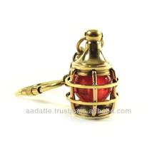 Brass marine lamp key chain nautical keychain