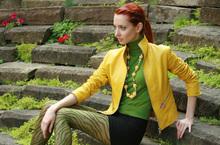 Italian soft Genuine lambskin leather slim fit women jacket color yellow