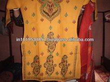 100% cotton hand crafted katha stich work unique kurti