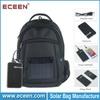 Nylon solar bag backpack, solar bag pack with 5000mah battery