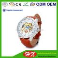 Homme d'affaires automatique mécanique en acier inoxydable boîtier de montre/suisse, movtmatériel montre avec bracelet en cuir