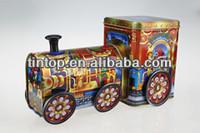 Tintop trendy coin train tin/metal gifts bank tin/promotional tin money saver