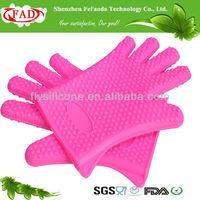 Pink Professional High Temperature Silicone Glove Oven Mitt