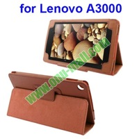 Lichee Texture Flip Leather Case for Lenovo A3000 with Holder