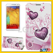 Best price Heart Pattern Leather Case with Holder for Samsung Galaxy Note 3 / N9000