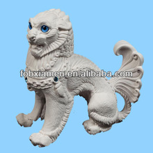 Hand Carved Chinese White Indoor Marble Foo Dogs