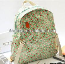 Fashion flower printing canvas coated backpack summer women's backpack handbag