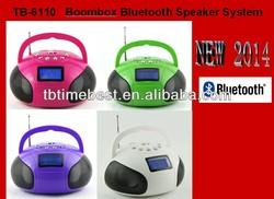 TB-6110 2014 boom-box bluetooth speaker midi, support USB / SD / TF, bluetooth, 2 x 3 watt