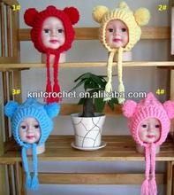 Handmade Knit crochet bonnet with pom poms Manufacturer, Baby Hat Crochet Pattern