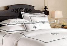 Monogrammed linen, cotton bedding set