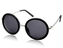 K1087 Fashionable Unisex Round Lens Sunglasses (Black) M.