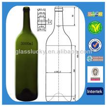 glasslucky koyu yeşil 3000ml ucuz şarap şişeleri toptan