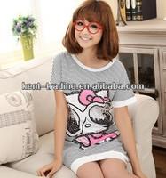 cute cartoon sleepwear stripe nightgown cotton nightgown