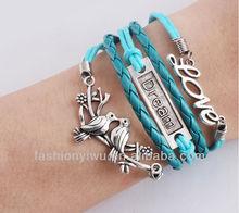 Love Dream&Birds Charm Bracelet Lucky Leaf Bracelet In Silver-Wax Cords and Imitation Leather Bracelet