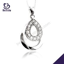 Elegant silver tear drop shape pendant superman charm